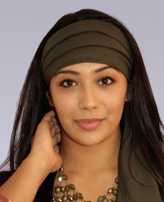 Army Green Head Wrap on 3 Br