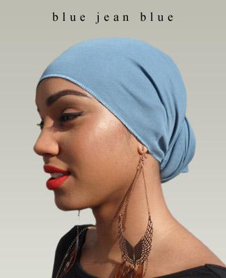 Blue Jean Blue Head Wrap on Look Left