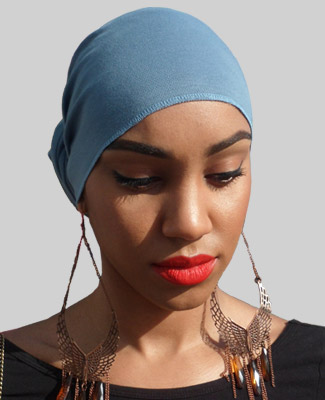 Blue Jean Blue Head Wrap on Looking Down