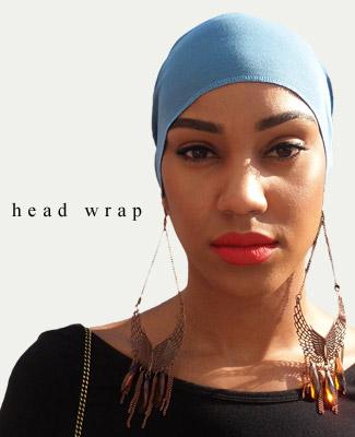 Blue Jean Blue Head Wrap on Looking Straight