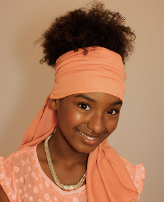 Peach Head Wrap on 3 Bl