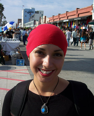Red Head Wrap on Smile Latin