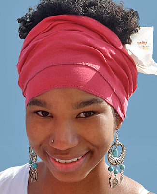Watermelon Head Wrap on Smile And Earrings 1TL