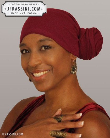 burgendy head wrap